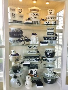 Pyrex; Halloween goblins and ghouls in black and white 2016