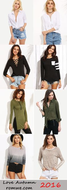 Loving these long sleeve t shirts and blouses - such a chic autumn look!