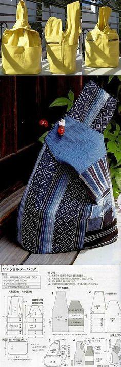Простая сумка-рюкзак из джинсов