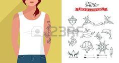 Fille avec t shirt et un ensemble de tatouages vecteur mod le plat Banque d'images