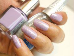 Pastel Lilac Sparkle Nails