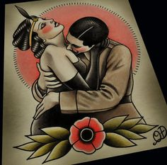 Vintage Embrace Traditional Tattoo Print by ParlorTattooPrints, $28.00