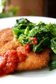 """Pan Fried Chicken Cutlets with Garlicky Broccoli Rabe - 110 mg of sodium per serving. Be sure to buy minimally processed boneless, skinless chicken breast that has not been """"enhanced with natural chicken broth"""" - it's just salt water!"""