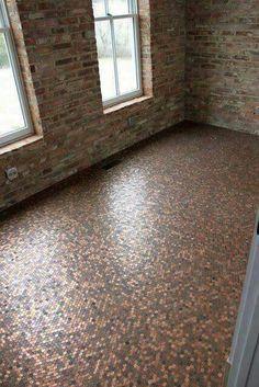 Gentil Skillful Design Inexpensive Flooring Ideas For Basement Penny Floor. Copper  Bathroom Copper Floor   Inexpensive Flooring Ideas For Basement
