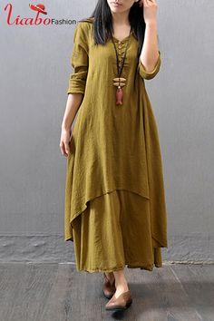 Naiveroo Vintage Women Cotton Linen Boho Long Maxi Dress Vestidos Casual  Solid Spring Loose Full Sleeve V Neck Button Dresses 132897dbcf7b