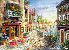 Аутентичные DMC французский 14CT комплекты картина маслом улица кафе 2014 новые поступления бесплатная доставка