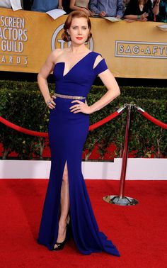 Amy Adams struck a pose in her blue Antonio Berardi gown at the SAG Awards.