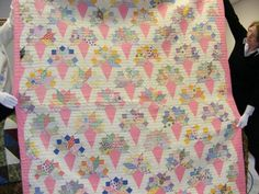 Bridal Nosegay Quilt - This quilt is hand-quilted and dates from the Depression Era. The pattern is Bridal Nosegay. This quilt is from the collection of Karen Reierson