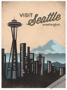 Visit Seattle Washington Print. $15.00, via Etsy.