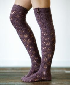 This Plum Open-Knit Over-the-Knee Socks by Three Bird Nest is perfect! #zulilyfinds