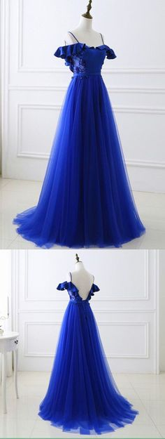 Off the Shoulder Royal Blue Prom Dress Tulle