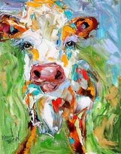 Original Colorful Cow palette knife painting oil by Karensfineart