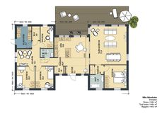 Planritning Bungalow, Sims, House Plans, Villa, Floor Plans, Flooring, How To Plan, Modern Houses, Trendy Tree
