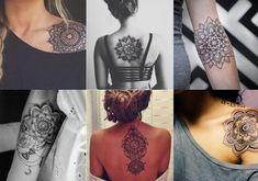 Black Henna Mandala Lotus Temporary Tattoos at MyBodiArt