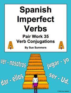 Spanish Imperfect Verbs Pair Work Las Escaleras Activity and Quiz by Sue Summers