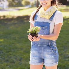 Overalls with shorts. Cute. I'd love a pair for painting or pottery