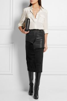 Tom Ford | Calf hair, leather and denim skirt | NET-A-PORTER.COM
