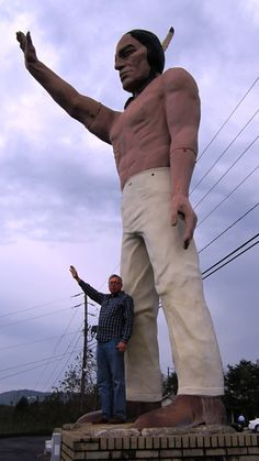 """Chief Pontiac"" overlooks Patton Avenue in Asheville, NC. I remember waving at him each & every time!"
