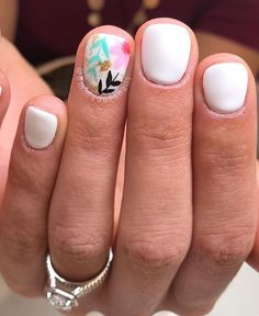 The 45 pretty nail art designs that perfect for spring looks 15 We're heading to Spring and warmer weather just around the corner. It's time to change your nails look. Spring is a season of blooming. Spring Nail Art, Nail Designs Spring, Spring Nails, Nail Art Designs, Gelish Nails Summer, Cute Nails For Spring, White Summer Nails, Cute Summer Nail Designs, Spring Nail Trends