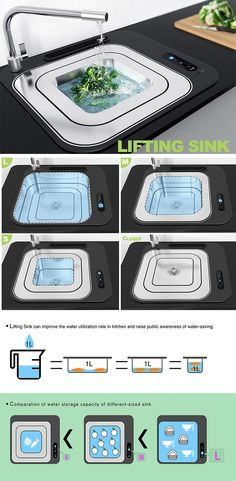 The Lifting Sink offers an innovative yet entirely simplistic way to customize the size of your sink while also reducing water consumption. Composed of three nested metal layers, it's storage capacity of this sink can be adjusting in a cinch! When only a handful of things or small items need to be cleaned, select the small size or when you have larger pots or many items, select the larger sink.