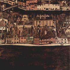 Egon Schiele: La pequeña ciudad II (vista de Krumau sobre el río Moldava) 1912-1913