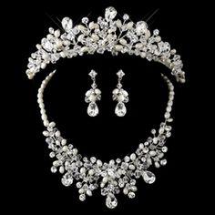 Silver Freshwater Pearl, Swarovski Crystal Bead and Rhinestone Tiara Headpiece & Jewelry Set - 9783 Bridesmaid Jewelry Sets, Bridal Jewelry Sets, Wedding Accessories, Wedding Jewelry, Bridal Jewellery, Wedding Nails, Wedding Bride, Headpiece Jewelry, Bridal Tiara