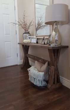 rustic farmhouse entryway table. Rustic farmhouse entryway table. If you like this pin, why not head on over to get similar inspiration and join our FREE home design resource library at http://www.FlorenceAndFreya.com?
