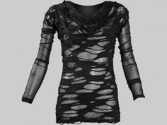 This gothic mesh shirt for women by Queen of Darkness has following features:        gothic mesh top for women      multiple layers of black sheer      holes and gashes in top layer      long mesh sleeves      ruffled neck on front side      mixed fibers