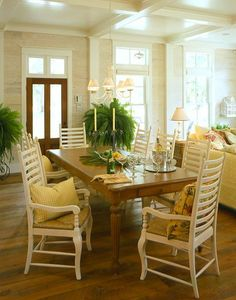 Love these delicate ladder back chairs. Southern Living