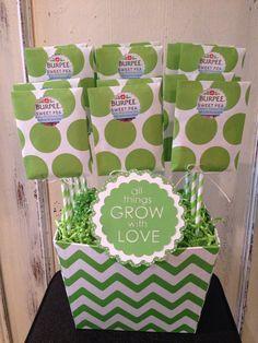 "custom ""burpee sweet pea"" seed packet baby shower favor arrangement"