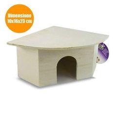 Casa Casetta per Criceti Animali Nido in Legno 10x16x23 cm Tana Beige A33889