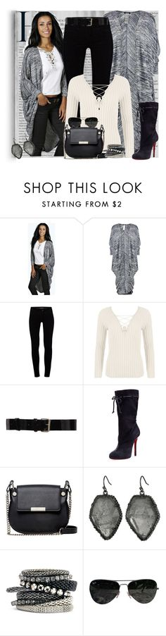 """Boohoo Brooke Cocoon Cardigan"" by diva1023 ❤ liked on Polyvore featuring Boohoo, J Brand, WearAll, Bouchra Jarrar, Christian Louboutin, French Connection, Kendra Scott, H&M and Ray-Ban"