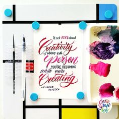 Its almost weekend!!! I cant wait to rest!!! #calligrafikas #brushlettering  Paper: Canson 200gsm Paint: Shin Han Korean watercolors & Daniel Smith watercolors Brush: Craftdoodle waterbrush & Silver Brush Black Velvet round no 2