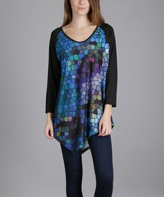 Look at this Blue & Black Geometric Long-Sleeve Tunic - Plus on #zulily today!