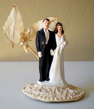 1940's Wedding Cake Topper Bride and Groom