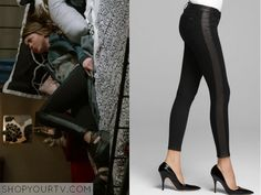 Haley Dunphy (Sarah Hyland) wears these black jeans with a leather lack stripe down the side