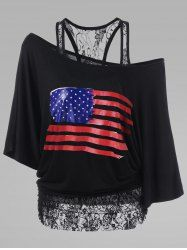 Lace Trim Plus Size American Flag T-Shirt