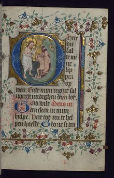 This illuminated Book of Hours was produced in the second quarter of the fifteenth century. It is written in the Netherlandish translation of Geert Grote. Although lacking in full-page miniatures, the manuscript contains eighteen historiated initials by the Masters of Zweder van Culemborg with ornamental initials and decoration throughout.