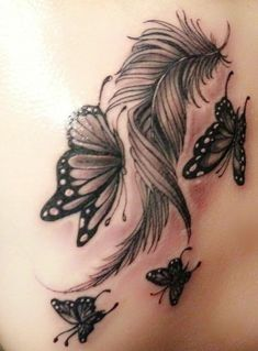 My beautiful shoulder tattoo Feather Tattoo Arm, Indian Feather Tattoos, Butterfly Tattoos On Arm, Feather Tattoo Design, Butterfly Tattoo Designs, Lace Tattoo, Girly Tattoos, Mom Tattoos, Unique Tattoos