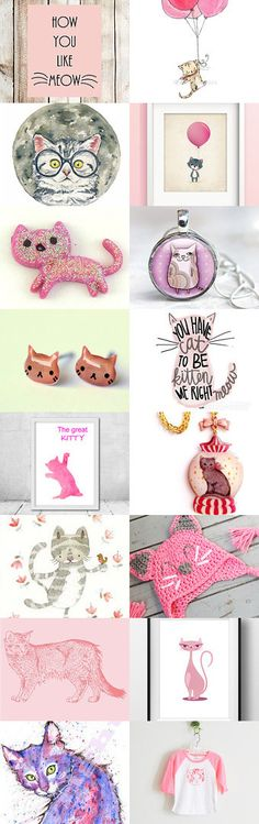Pink Kitties by Carla on Etsy--Pinned with TreasuryPin.com