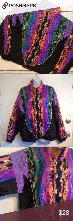"""VINTAGE 80s/90s Colorful Windbreaker Jacket Vintage 80s/90s colorful zip up windbreaker style jacket. Metallic threading details. Has a few loose threads. Major Fresh Prince of Bell Air vibes. Unisex. Missing drawstring. Size tag has rubbed off but measures 26.5"""" flat from armpit to armpit and 25.5"""" shoulder to hem. If I had to guess on sizing I would say a large but please check your measurements. No modeling. Smoke free home. I do discount bundles. Vintage Jackets & Coats"""