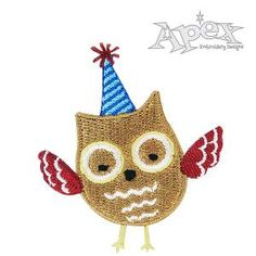 """Birthday Owl Embroidery Design with Party Hat. Size: 2.29"""" x 2.03"""""""