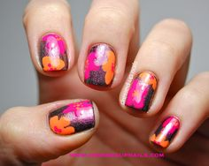 floral nail art - like the colors