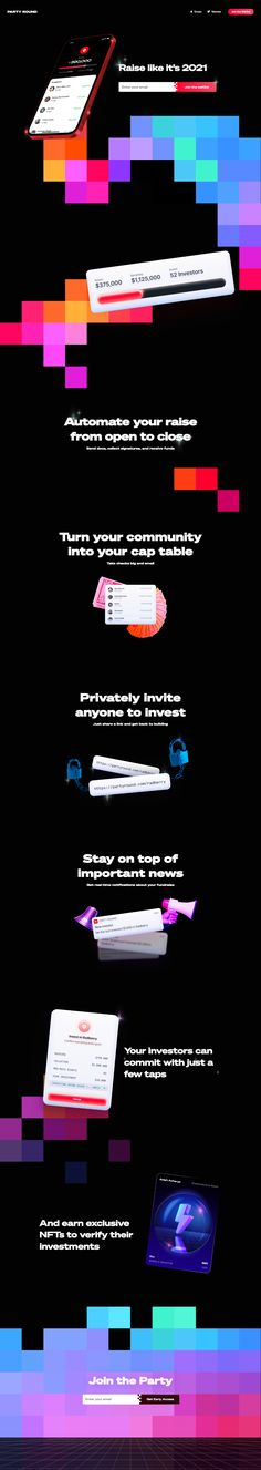 Party Round landing page design inspiration - Lapa Ninja Tool Design, Web Design, Creative Colour, Landing Page Design, Fundraising, Ninja, Design Inspiration, Party, Design Web