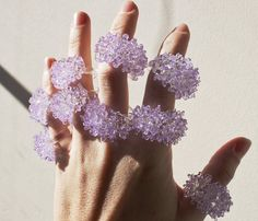 Lilac Glass Cluster Ring