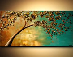 "Landscape Blooming Trees Painting Original Abstract Modern Palette Knife Acrylic Turquoise Gold by Osnat - MADE-TO-ORDER - 48""x24"""