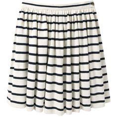 Charles Anastase Striped Skirt (2,715 MXN) ❤ liked on Polyvore featuring skirts, mini skirts, bottoms, saias, faldas, short white skirt, a line skirt, cotton mini skirt, ruched skirt and short a line skirt
