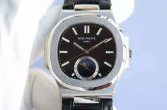 Patek Philippe Nautilus 5726 SS Black Dial on Black Leather Strap A324