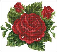 Красная роза каплями росы - Цветы, натюрморты с цветами - Схемы вышивки - Иголка