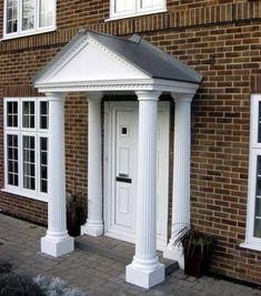 Portico Door Surround - Resin Roofs - Roofing Supplies, Jobs & Training Over Door Canopy, Porch Canopy, House Front Porch, Porch Roof, Front Porches, Front Door Trims, Roofing Supplies, Dentil Moulding, Fluted Columns